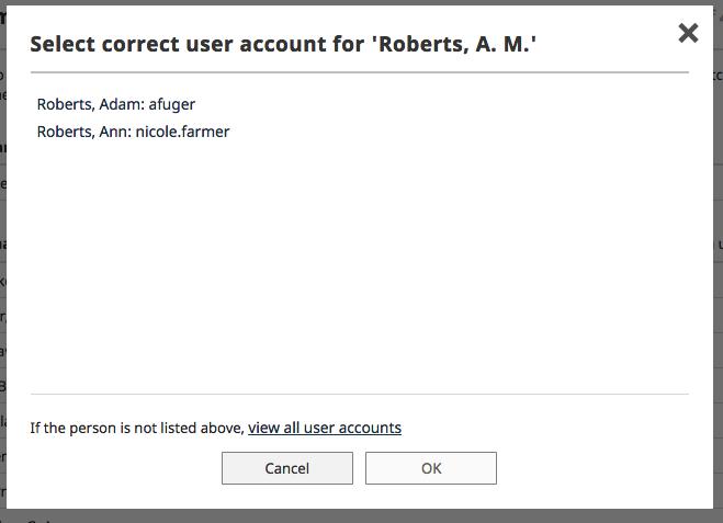Select correct user account