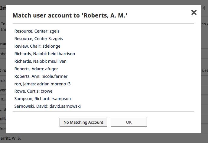 No matching user account